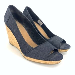 Toms Blue Denim Women's Stella Peep-Toe Wedges